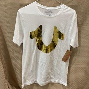 True Religion Gold Foil Horseshoe White T shirt